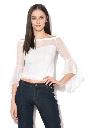 Блуза с асиметрични разкроени маншети и голи рамене
