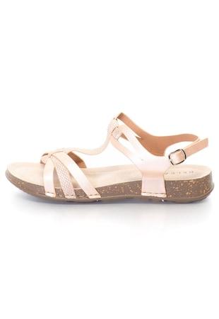 Дамски сандали  Ниски, Имитация на змийска кожа, Еко кожа, Интериор от естествена кожа