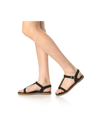 Дамски сандали  Кръгли метални аксесоари, Еко кожа