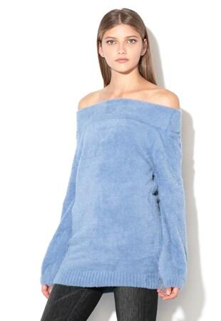 ... Ejtett vállú pulóver bolyhos textúrával ... 593b512a6a