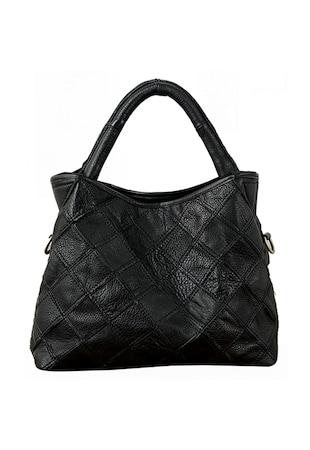 Дамска чанта  Плетена кожа, Черна