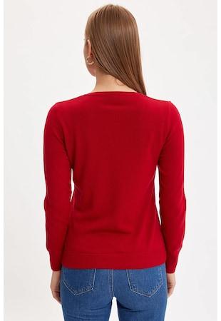 Finomkötött pulóver lágy V alakú nyakkivágással