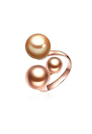 Inel placat cu aur, cu perle organice