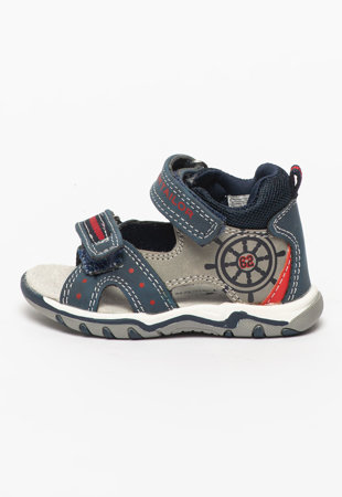 Sandale de piele ecologica cu material textil si velcro
