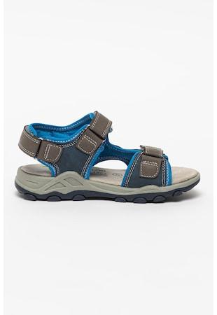 Sandale cu velcro si detalii contrastante