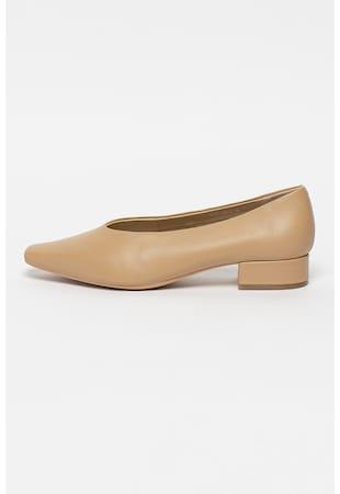 Pantofi de piele cu toc patrat