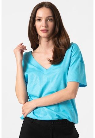 Csillámos hatású V-nyakú póló