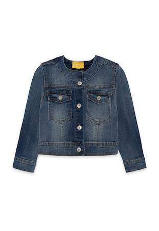 Jacheta din denim cu cusaturi contrastante