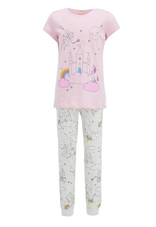 Pijama lunga cu imprimeu grafic