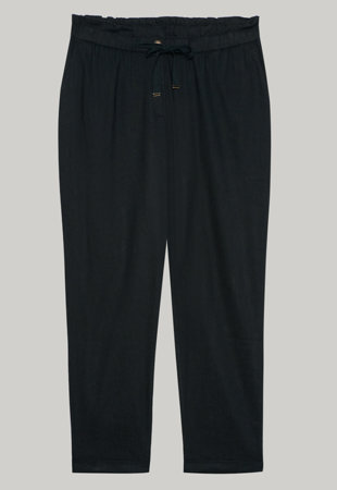 Pantaloni crop jogger din amestec de in cu snur in talie