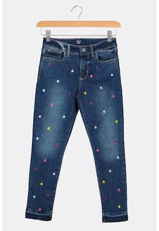 Blugi cu talie inalta si imprimeu cu stele