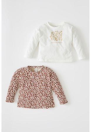 Set de bluza de bumbac cu model - 2 piese