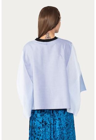 Bluza lejera cu model in dungi si colorblock