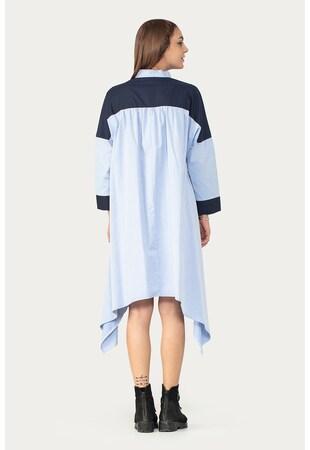 Rochie asimetrica tip camasa cu model in doua tonuri