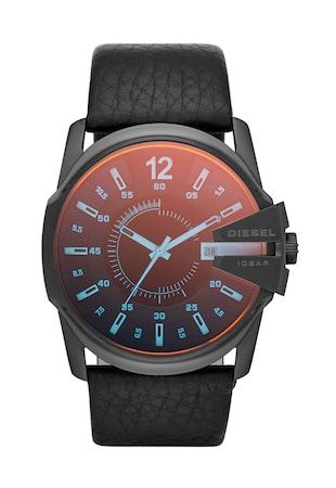 Ceas cronograf negru cu geam cu irizatii