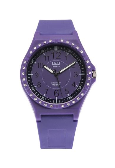 Q&Q Овален часовник с декоративни камъни Мъже