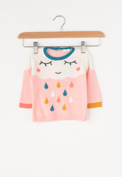 United Colors of Benetton Pulover din tricot fin cu model Fete