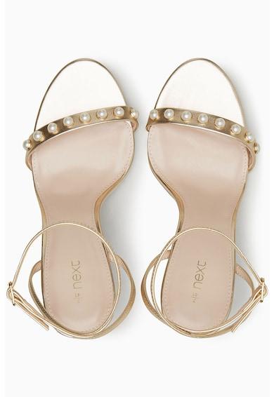 NEXT Sandale metalizate cu bareta pe glezna si perle Femei