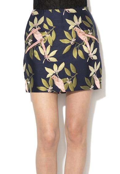 GUESS JEANS Mini jacquard szoknya dekoratív cipzárokkal női
