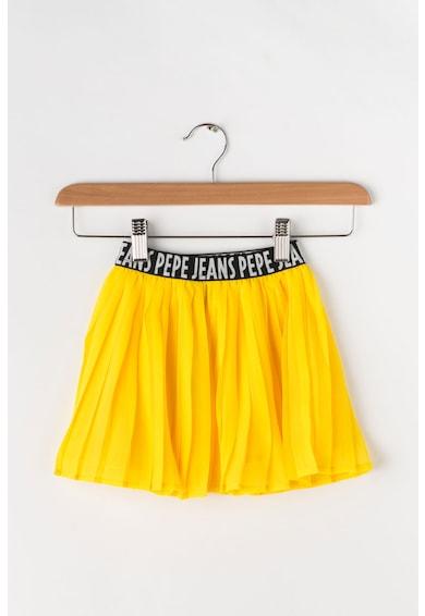 Pepe Jeans London Fusta cu pliuri si banda cu logo in talie Wendoline Fete