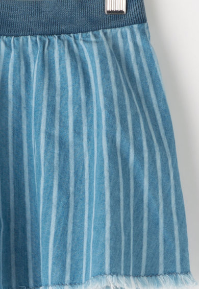 Pepe Jeans London Fusta evazata din chambray cu detalii franjurate Fete