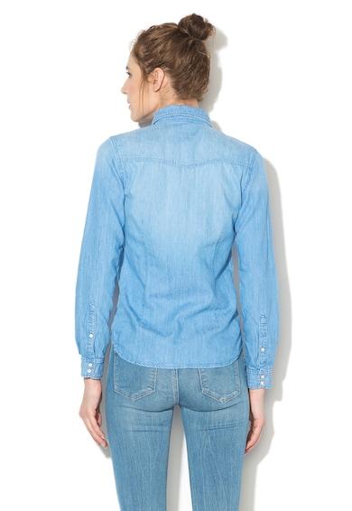 Pepe Jeans London Camasa cu aspect de denim si buzunare pe piept Femei