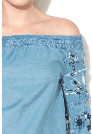 Pepe Jeans London Bluza din chambray cu decolteu pe umeri si broderie Hope Femei