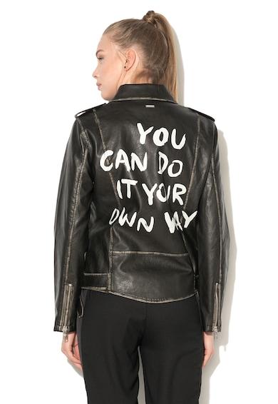 Pepe Jeans London Jacheta biker de piele sintetica, cu text pe partea din spate Alicia Femei