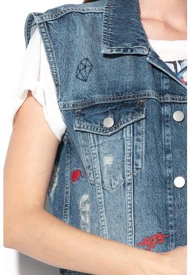Pepe Jeans London Дълъг дънков елек Jenny с бродерии Жени