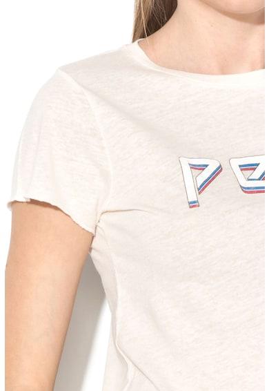 Pepe Jeans London Тениска Madi с лен и лого Жени