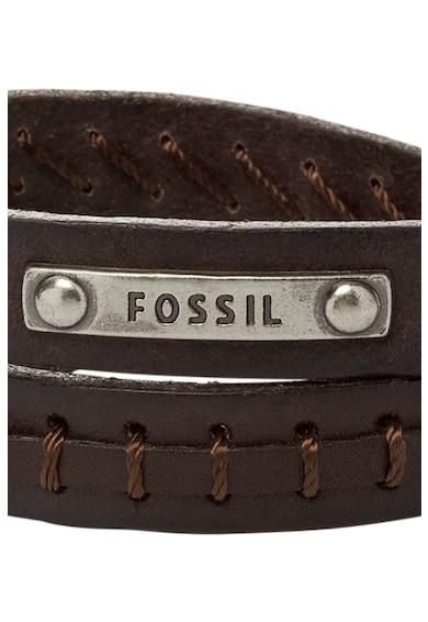 Fossil Кожена гривна с лого Мъже