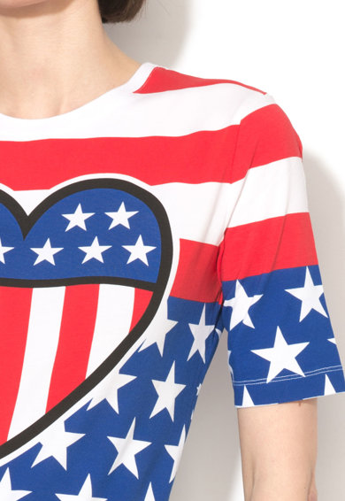 Love Moschino Tricou cu decolteu rotund si modele multiple Femei