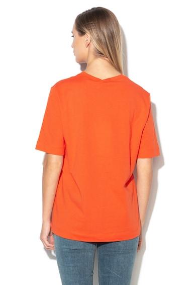 Love Moschino Tricou cu decolteu rotund si logo in relief Femei