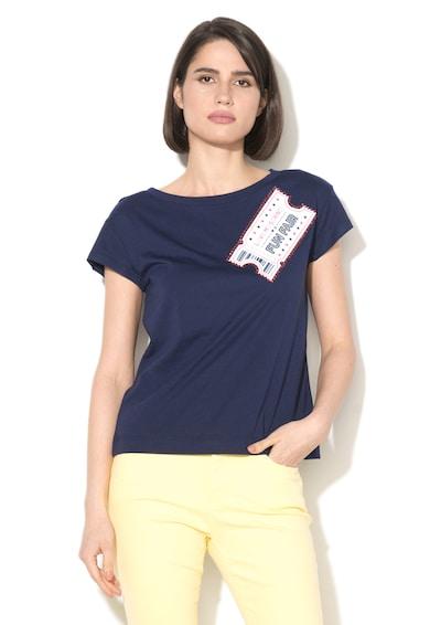 Love Moschino Tricou din amestec de modal cu imprimeu cauciucat si strasuri Femei