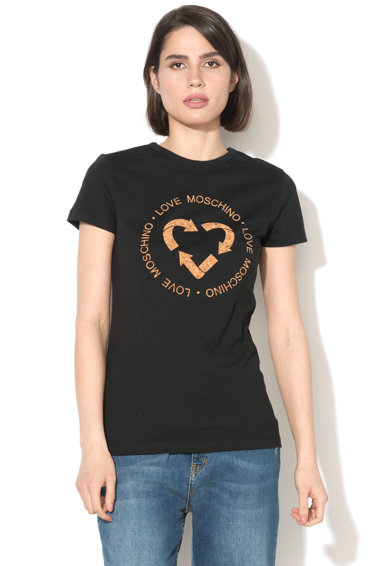 Love Moschino Tricou cu decolteu rotund si aplicatie frontala Femei