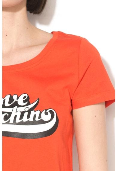 Love Moschino Tricou cu margini franjurate si decolteu rotund Femei