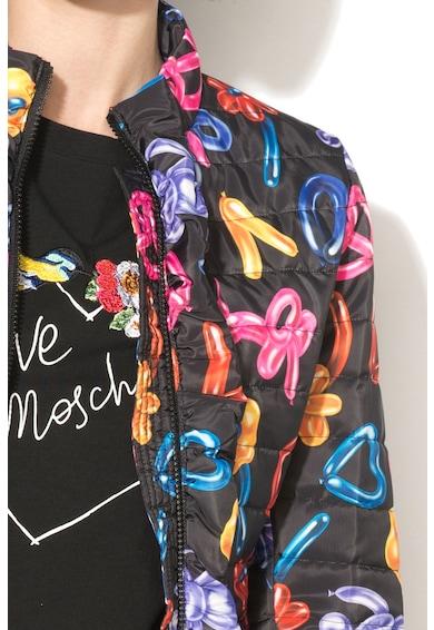 Love Moschino Enyhén bélelt kabát fodros szegélyekkel női
