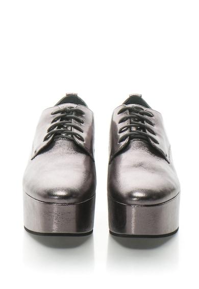 CALVIN KLEIN Pantofi derby flatform de piele cu aspect metalic Natalye Femei
