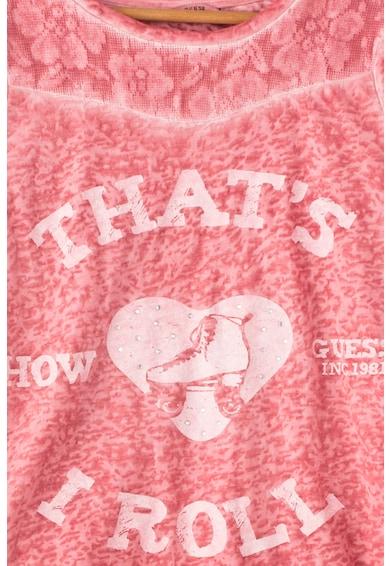 GUESS JEANS Блуза с гумирана щампа и декоративни камъни Момичета
