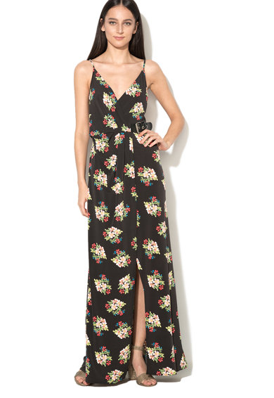 GUESS JEANS Rochie maxi cu model floral si slit frontal Femei