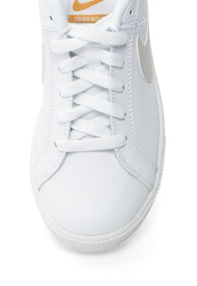 Nike Pantofi sport cu garnituri de piele si logo Court Royale, Alb/Gri deschis Femei