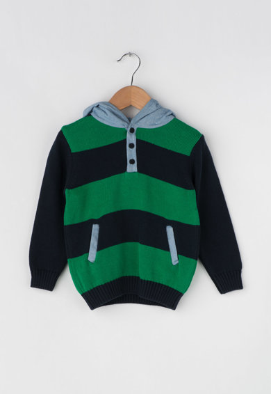 Dr. kid Раиран пуловер с качулка и джобове встрани Момчета