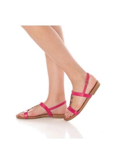 Release Sandale cu talpa joasa si accesorii metalice,  piele sintetica si interior de piele naturala Femei