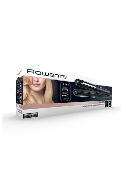 Rowenta Преса за коса  Liss & Curl SF4210, Регулируема температура 95°C - 230°C, LCD дисплей, Система за заключване, Черна Жени