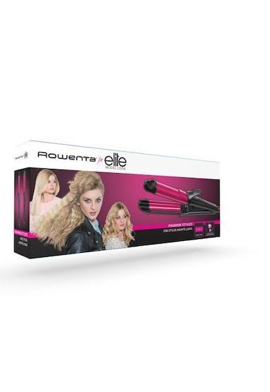 Rowenta Ondulator  Fashion Stylist , 66W, multifunctional, 2 setari de temperatura, generator de ioni, timp de incalzire 45s, Negru/Roz Femei