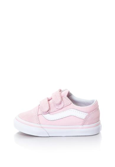 Vans OLD SKOOL tépőzáras sneakers cipő nyersbőr anyagbetétekkel Lány