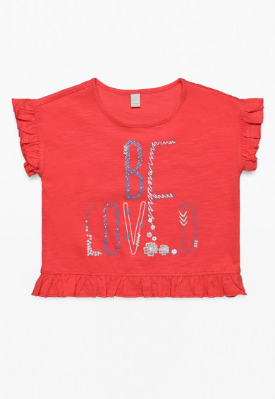 Esprit Szövegmintás póló fodros szegélyekkel Lány
