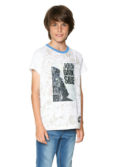 DESIGUAL Тениска с щампа и двулицеви пайети отпред Момчета
