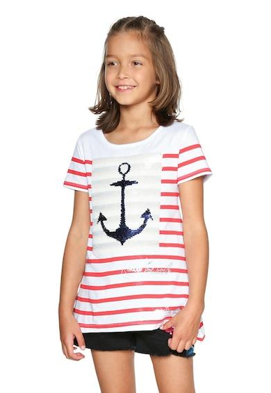 DESIGUAL Раирана тениска с двулицеви пайети Момичета