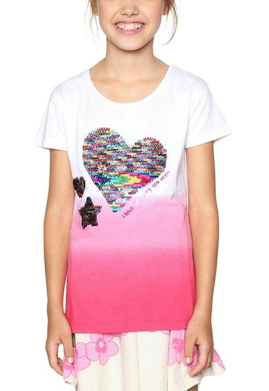 DESIGUAL Kerek nyakú színátmenetes póló Lány